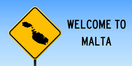 Malta map on road sign. Wide poster with Malta island map on yellow rhomb road sign. Vector illustration.