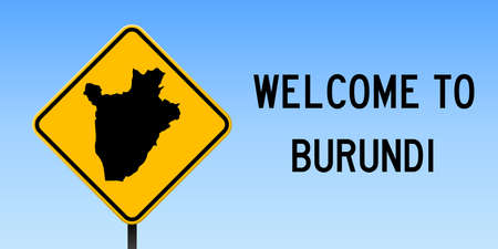 Burundi map on road sign. Wide poster with Burundi country map on yellow rhomb road sign. Vector illustration.