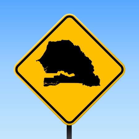Senegal map on road sign. Square poster with Senegal country map on yellow rhomb road sign. Vector illustration. Иллюстрация