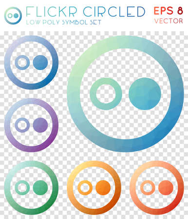 Flickr circled geometric polygonal icons. Artistic mosaic style symbol collection. Splendid low poly style. Modern design. Flickr circled icons set for infographics or presentation. Illustration
