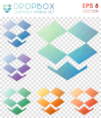 Dropbox geometric polygonal icons. Appealing mosaic style symbol collection. Magnificent low poly style. Modern design. Dropbox icons set for infographics or presentation.