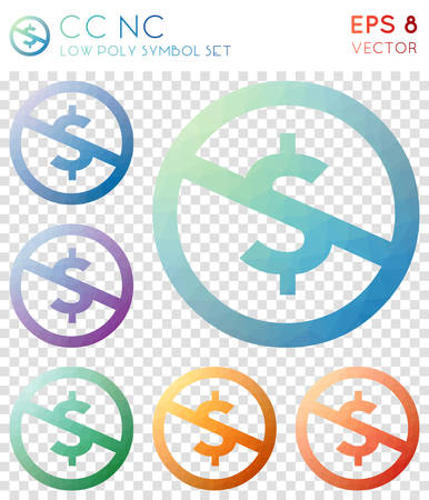 Cc nc geometric polygonal icons. Amazing mosaic style symbol collection. Authentic low poly style. Modern design. Cc nc icons set for infographics or presentation.