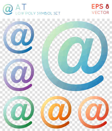 At geometric polygonal icons. Alive mosaic style symbol collection. Favorable low poly style. Modern design. At icons set for infographics or presentation.