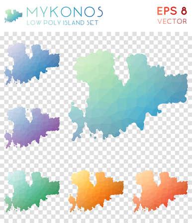 Mykonos geometric polygonal maps, mosaic style island collection. Eminent low poly style, modern design. Mykonos polygonal maps for infographics or presentation. Illustration