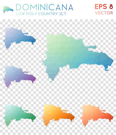 Dominicana geometric polygonal maps, mosaic style country collection. Extra low poly style, modern design. Dominicana polygonal maps for infographics or presentation. Ilustração