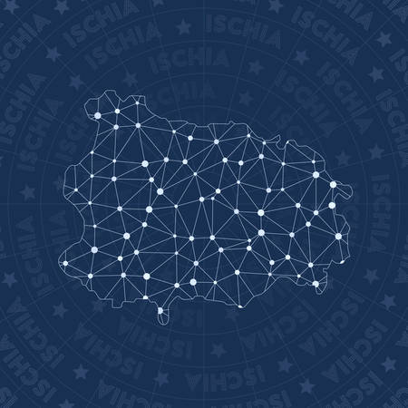 Ischia network, constellation style island map. Stylish space style, modern design. Ischia network map for infographics or presentation.