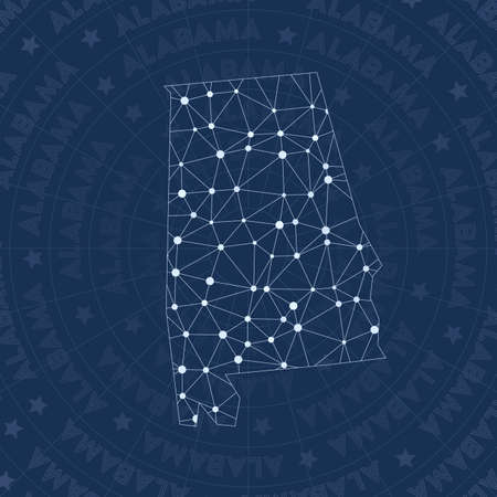 Alabama network, constellation style us state map. Ravishing space style, modern design. Alabama network map for infographics or presentation.