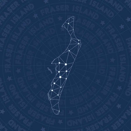 Fraser Island network, constellation style island map. Outstanding space style, modern design. Fraser Island network map for infographics or presentation.