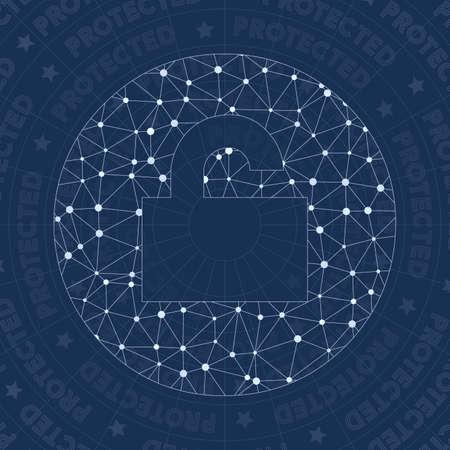 Lock open alt network symbol. Amazing constellation style symbol. Beauteous network style. Modern design. Lock open alt symbol for infographics or presentation.