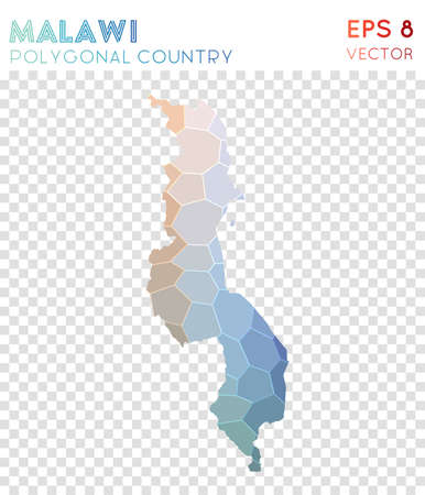 Malawi polygonal map, mosaic style country. Surprising low poly style, modern design. Malawi polygonal map for infographics or presentation.