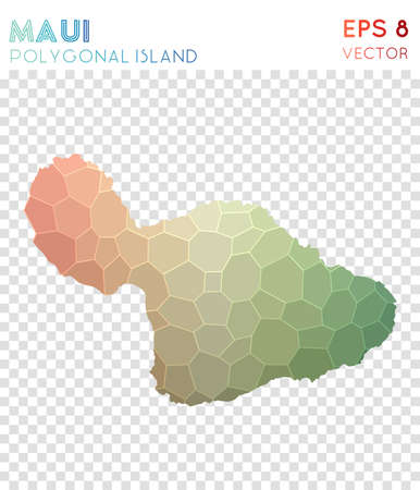 Maui polygonal map, mosaic style island. Dazzling low poly style, modern design. Maui polygonal map for infographics or presentation.