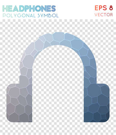 Headphones polygonal symbol. Appealing mosaic style symbol. Divine low poly style. Modern design. Headphones icon for infographics or presentation.