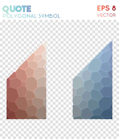 Quote left alt polygonal symbol. Authentic mosaic style symbol. Tempting low poly style. Modern design. Quote left alt icon for infographics or presentation.