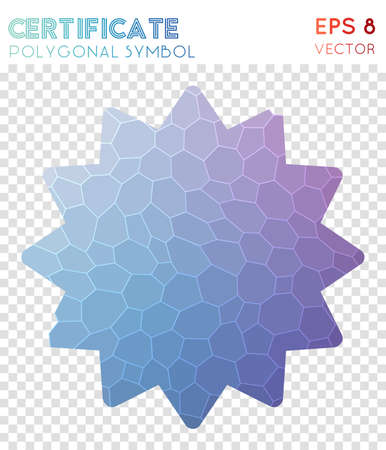 Certificate polygonal symbol. Adorable mosaic style symbol. Fascinating low poly style. Modern design. Certificate icon for infographics or presentation.