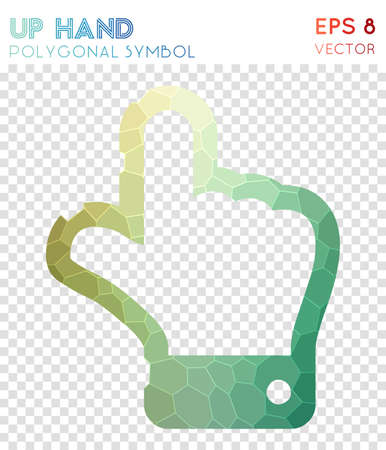 Up hand polygonal symbol. Bewitching mosaic style symbol. Original low poly style. Modern design. Up hand icon for infographics or presentation.
