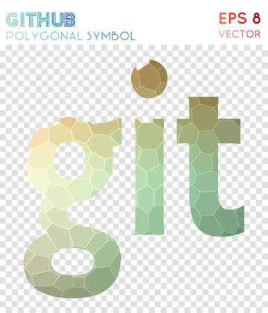 Github text polygonal symbol. Amusing mosaic style symbol. Powerful low poly style. Modern design. Github text icon for infographics or presentation. Illustration