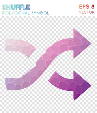 Shuffle polygonal symbol. Beauteous mosaic style symbol. Bizarre low poly style. Modern design. Shuffle icon for infographics or presentation. Illustration