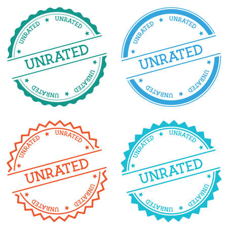 Unrated badge isolated on white background. Flat style round label with text. Circular emblem vector illustration. Illustration