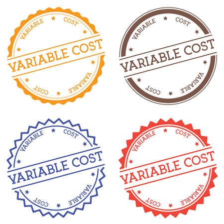 Variable cost badge isolated on white background. Flat style round label with text. Circular emblem vector illustration. 向量圖像