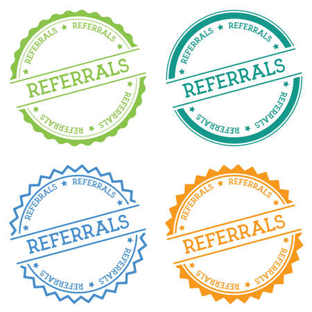 Referrals badge isolated on white background. Flat style round label with text. Circular emblem vector illustration.