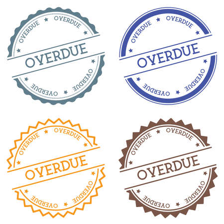 Overdue badge isolated on white background. Flat style round label with text. Circular emblem vector illustration.