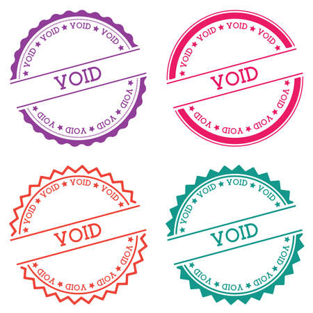 Void badge isolated on white background. Flat style round label with text. Circular emblem vector illustration.