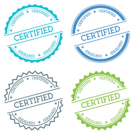 Certified badge isolated on white background. Flat style round label with text. Circular emblem vector illustration.