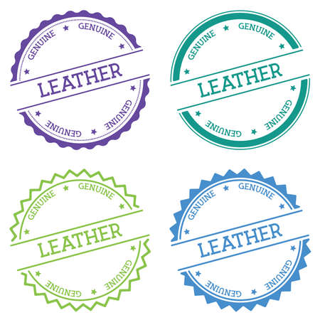 Leather Genuine badge isolated on white background. Flat style round label with text. Circular emblem vector illustration.