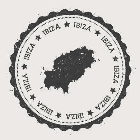Ibiza sticker. Hipster round rubber stamp with island map. Vintage passport sign with circular text and stars, vector illustration. Ilustração