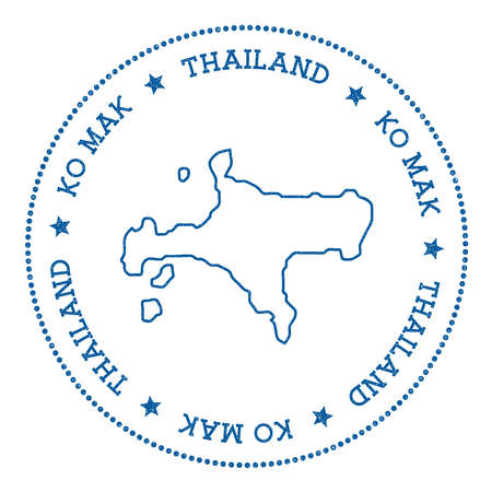 Ko Mak map sticker. Hipster and retro style badge. Minimalistic insignia with round dots border. Island vector illustration.