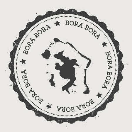 Bora Bora sticker. Hipster round rubber stamp with island map. Vintage passport sign with circular text and stars, vector illustration. Standard-Bild - 112027100