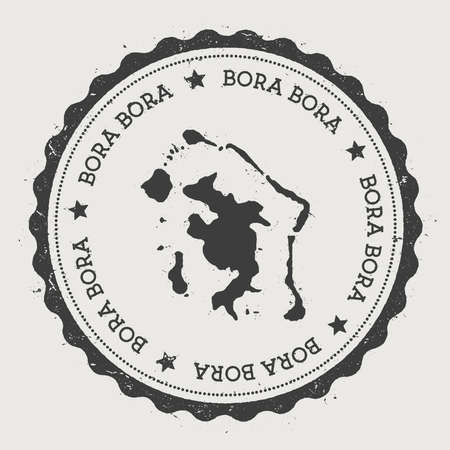 Bora Bora sticker. Hipster round rubber stamp with island map. Vintage passport sign with circular text and stars, vector illustration.