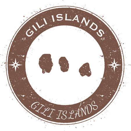 Gili Islands circular patriotic badge. Grunge rubber stamp with island flag, map and name written along circle border, vector illustration.