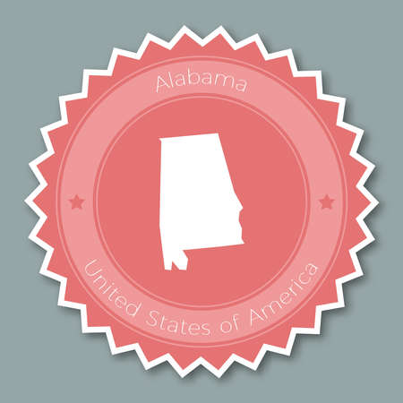Alabama badge flat design. Round flat style sticker of trendy colors with the state map and name. US state badge vector illustration.