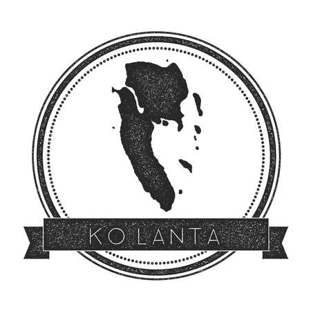 Ko Lanta map stamp. Retro distressed insignia. Hipster round badge with text banner. Island vector illustration.