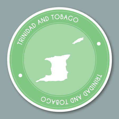 Trinidad and Tobago label flat sticker design. Patriotic country map round lable. Country sticker vector illustration. Vettoriali