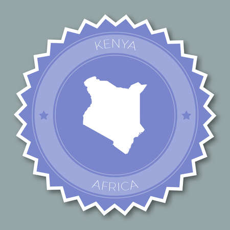 Kenya badge flat design. Round flat style sticker of trendy colors with country map and name. Country badge vector illustration.