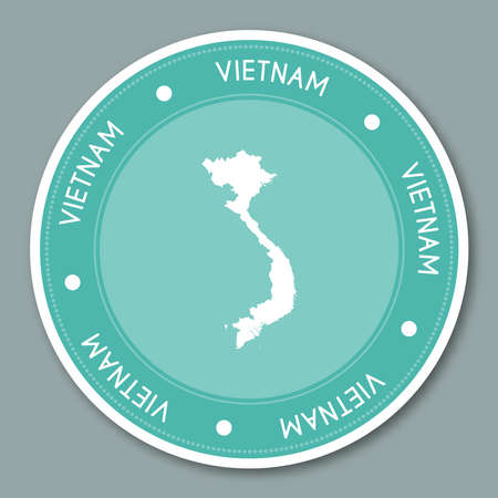 Vietnam label flat sticker design. Patriotic country map round lable. Country sticker vector illustration. 일러스트