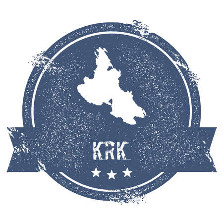 Krk sign. Travel rubber stamp with the name and map of island, vector illustration. Can be used as insignia,label, sticker or badge.