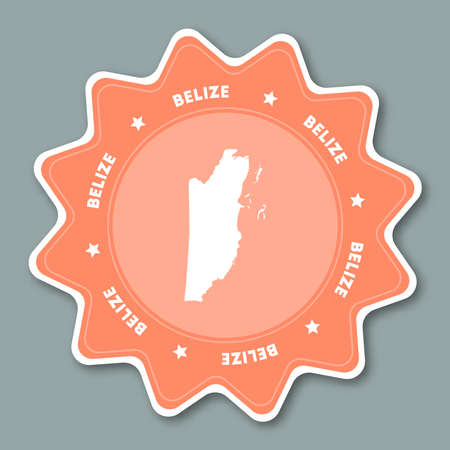 Belize map sticker in trendy colors. Star shaped travel sticker with country name and map. Can be used as logo, badge, label, tag, sign, stamp or emblem. Travel badge vector illustration. Logo