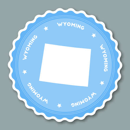 Wyoming sticker flat design. Round flat style badges of trendy colors with the state map and name. US state sticker vector illustration.