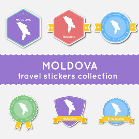 Moldova, Republic of travel stickers collection. Big set of stickers with country map and name. Flat material style badges vector illustration.