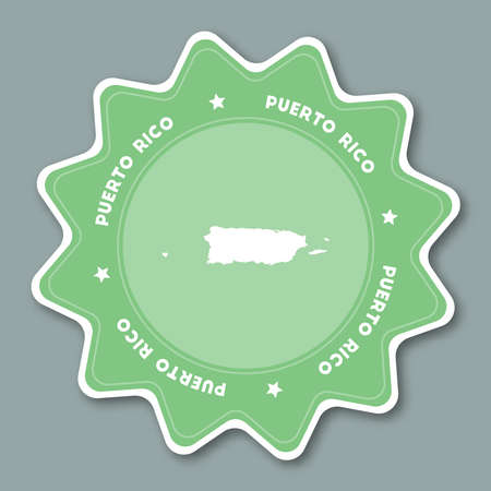 Puerto Rico map sticker in trendy colors. Star shaped travel sticker with country name and map. Can be used as logo, badge, label, tag, sign, stamp or emblem. Travel badge vector illustration. Ilustrace