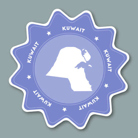 Kuwait map sticker in trendy colors. Star shaped travel sticker with country name and map. Can be used as logo, badge, label, tag, sign, stamp or emblem. Travel badge vector illustration.