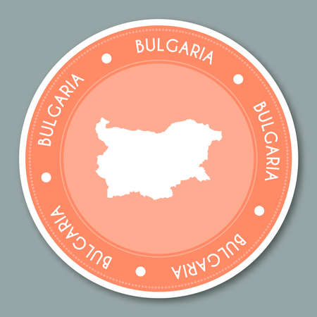 Bulgaria label flat sticker design. Patriotic country map round lable. Country sticker vector illustration.