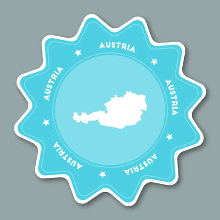 Austria map sticker in trendy colors. Star shaped travel sticker with country name and map. Can be used as logo, badge, label, tag, sign, stamp or emblem. Travel badge vector illustration. Illustration