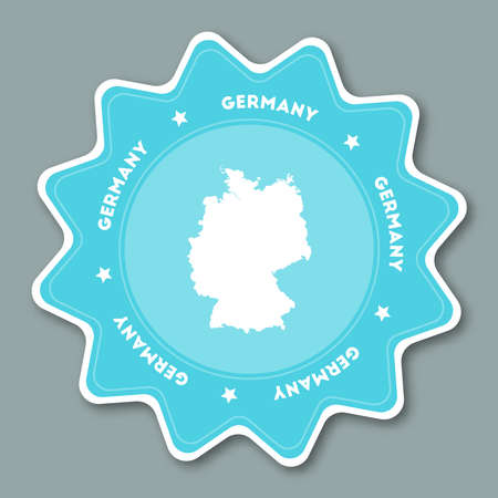 Germany map sticker in trendy colors. Star shaped travel sticker with country name and map. Can be used as logo, badge, label, tag, sign, stamp or emblem. Travel badge vector illustration.