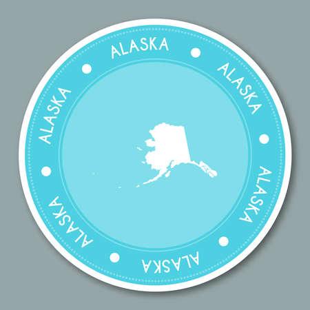 Alaska label flat sticker design. Patriotic US state map round lable. Round badge vector illustration.