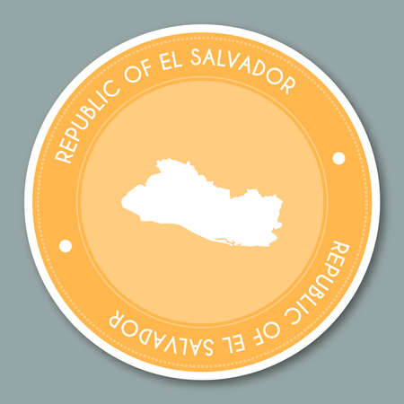 Republic of El Salvador label flat sticker design. Patriotic country map round label. Country sticker vector illustration. Ilustração