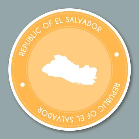 Republic of El Salvador label flat sticker design. Patriotic country map round label. Country sticker vector illustration. Vettoriali